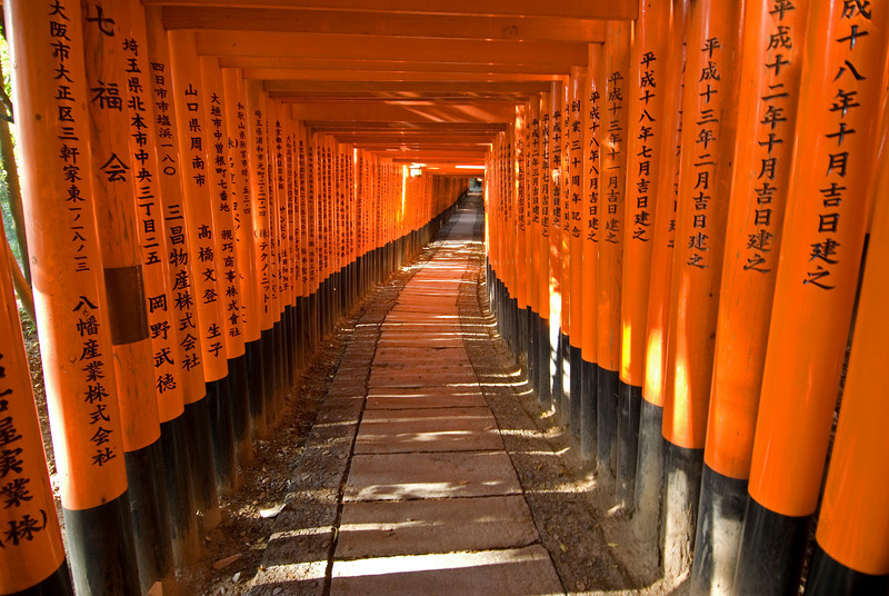 Japanese writings on posts at Fushimi Inari-taisha shrine path