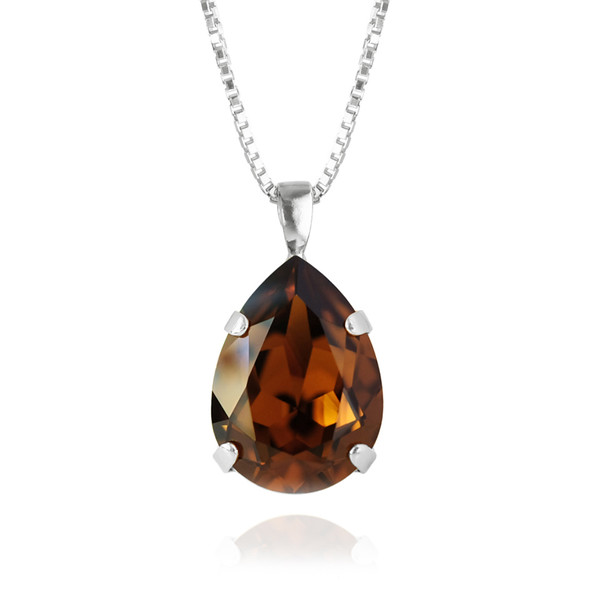 Classic Drop Necklace / Smoked Topaz Rhodium