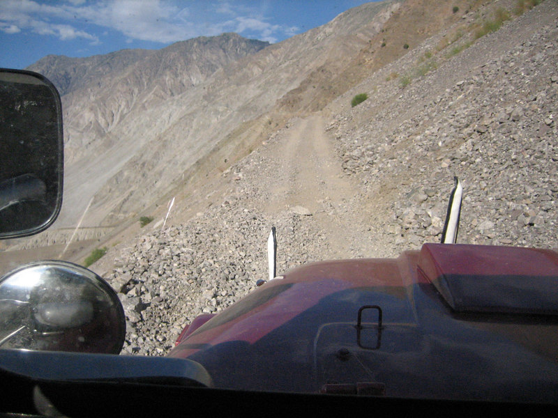 Once we got in, we realized this was much worse than walking.  The road clung to the mountain side.  We finally understood why the Karakoram Highway is called a Highway.  Compared to this it was a superhighway.