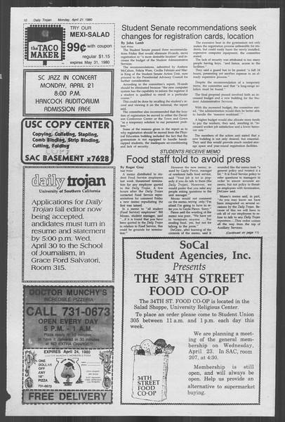 Daily Trojan, Vol. 88, No. 48, April 21, 1980