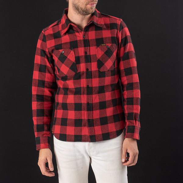 Ultra Heavy Flannel Buffalo Check Work Shirt - Red-Black-6943.jpg