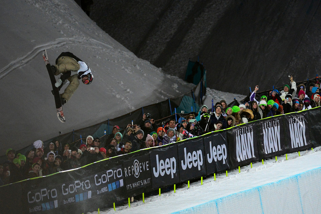 . ASPEN, CO. - JANUARY 26:  Scotty Lago catches air during his second run in the men\'s snowboard superpipe finals. The 2013 Aspen X Games on Buttermilk Mountain on January 27, 2013. (Photo By Mahala Gaylord / The Denver Post)