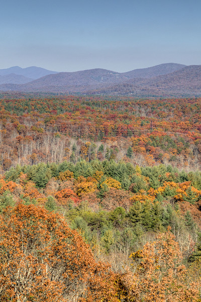 Beautiful fall colors beyond the parkway near Milepost 400 on the Blue Ridge Parkway in North Carolina on Sunday, November 3, 2013. Copyright 2013 Jason Barnette