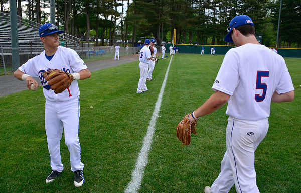 6/2/2018 Mike Orazzi | Staff Blue's Alex Laparco (1) and Ian Ostberg (5) at the home opener for the Bristol Blues' 2018 baseball season at Muzzy Field in Bristol Saturday night.