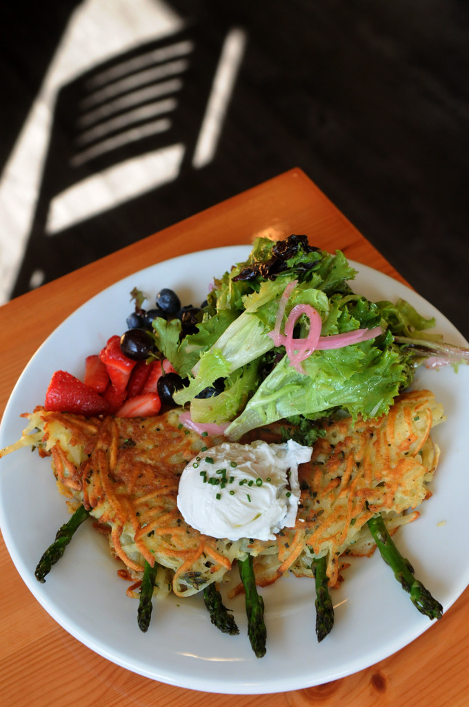 . The hash brown omelet is stuffed with asparagus and Gruyere cheese, topped with a poached egg. (Pioneer Press: Jean Pieri)