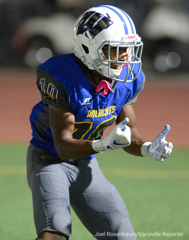 . Will C. Wood wide receiver, Deshawn Smith celebrates his third quarter touchdown during the Wildcats� 20-8 victory over Deer Valley High School Friday at Wildcat Stadium.