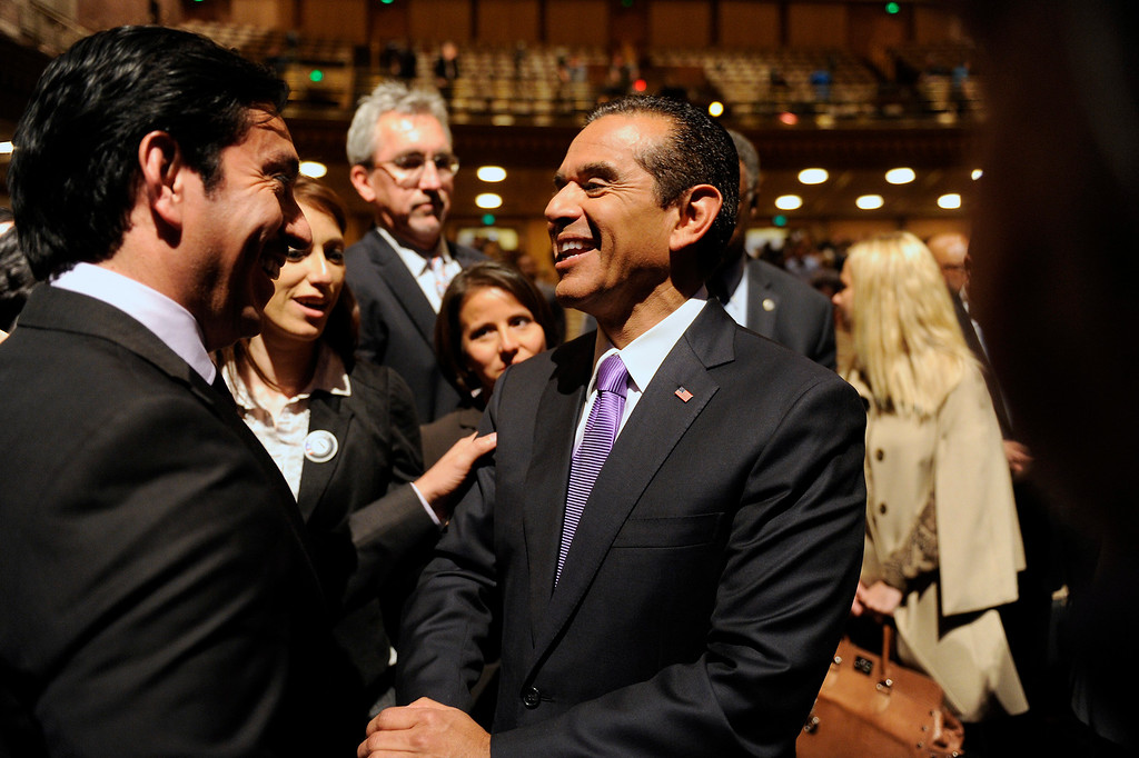 . Mayor Antonio Villaraigosa is greeted by supporters after his State of the City address at UCLA, Tuesday, April 9, 2013. (Michael Owen Baker/L.A. Daily News)