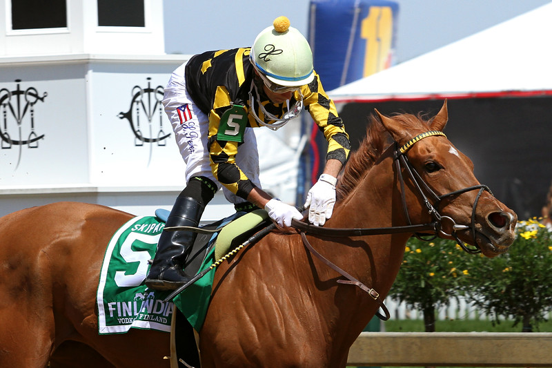 Dance to Bristol (Speightstown) and jockey Xavier Perez win the Skipat Stakes at Pimlico Racecourse 5/17/13. Trainer: Ollie Figgins III. Owner: Copperville Farm
