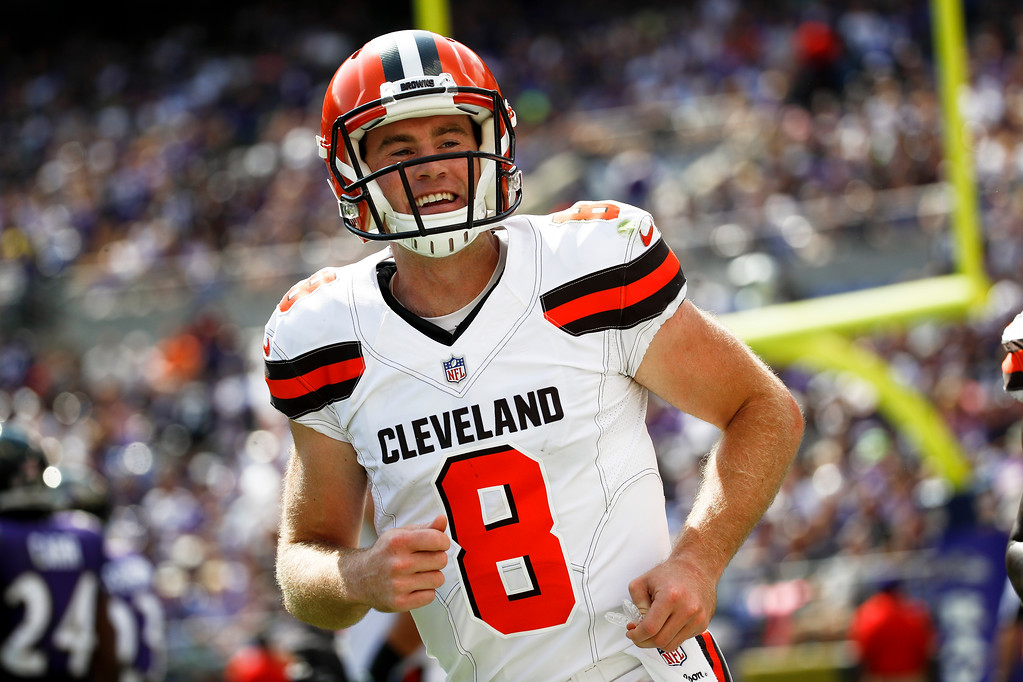. Cleveland Browns quarterback Kevin Hogan (8) runs off the field during the first half of an NFL football game against the Baltimore Ravens in Baltimore, Sunday, Sept. 17, 2017. (AP Photo/Patrick Semansky)