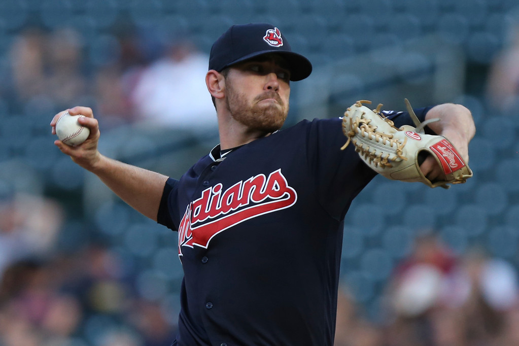 . Cleveland Indians pitcher Shane Bieber throws against the Minnesota Twins in the first inning of a baseball game Monday, July 30, 2018 in Minneapolis. (AP Photo/Stacy Bengs)