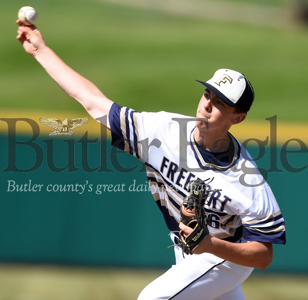 Harold Aughton/Butler Ealge: Freeport's Jarrett Heilman throws a pitch in last night's 3-2 loss to Franklin High School