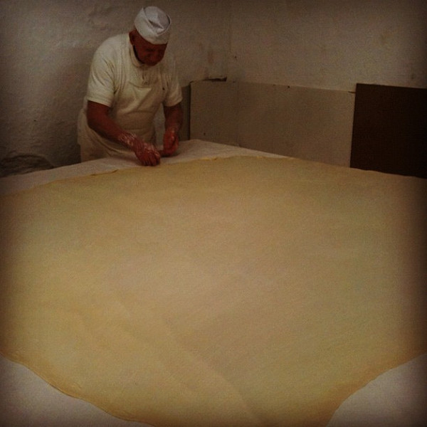 Making phyllo dough the old fashioned way in Rethymnon. Amazing process!