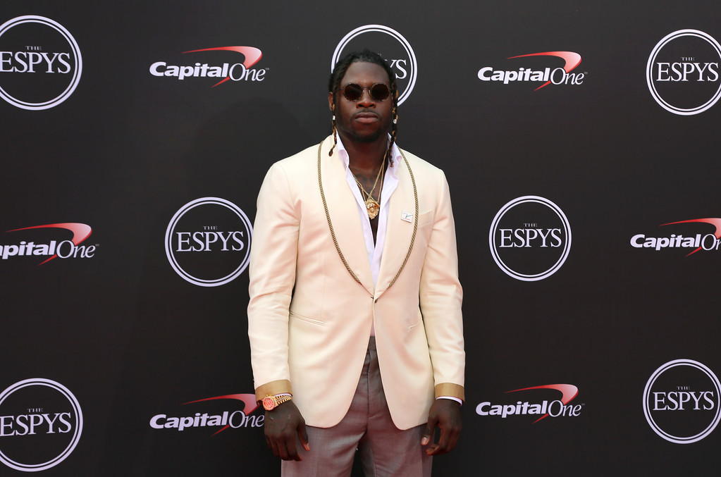 . Philadelphia Eagles\' Jay Ajayi arrives at the ESPY Awards at Microsoft Theater on Wednesday, July 18, 2018, in Los Angeles. (Photo by Willy Sanjuan/Invision/AP)