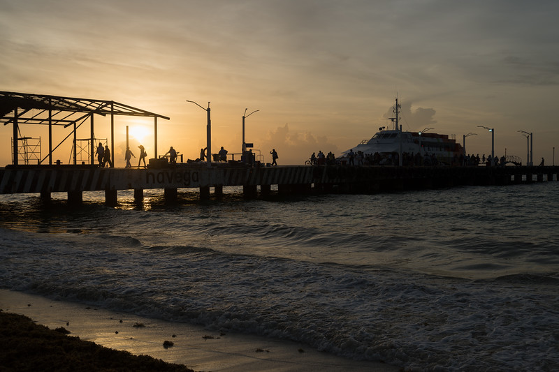 Ferry for Cozumel at Sunrise - Playa del Carmen, Mexico - August 15, 2014