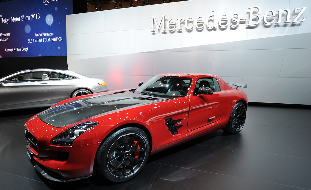 . SLS AMG GT final edition car is seen on display after its world premier at the press briefing in the Tokyo Motor Show in Tokyo on November 20, 2013. The motor show, held from November 20 to December 1, features domestic makers of passenger cars, commercial vehicles and trucks alongside most of their European competitors.           AFP PHOTO / TOSHIFUMI KITAMURA/AFP/Getty Images