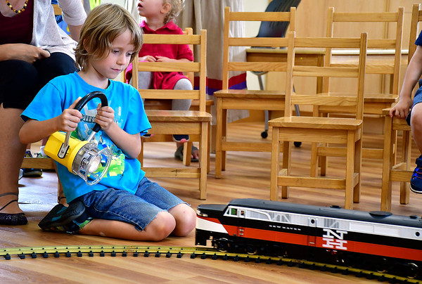 8/14/2019 Mike Orazzi | Staff Cohen McKenzie, 7 1/2, during the Imagine Nation, A Museum Early Learning Center's Railroad Day held on Wednesday morning.