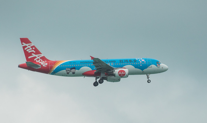 Air Asia A320-216 9M-AHL as AK6243 approaching Langkawi LGK WMKL.
