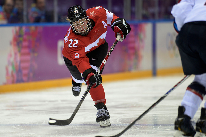 . Hayley Wickenheiser (22) of the Canada takes a shot against the U.S.A. during the second period of the women\'s gold medal ice hockey game. Sochi 2014 Winter Olympics on Thursday, February 20, 2014 at Bolshoy Ice Arena. (Photo by AAron Ontiveroz/ The Denver Post)