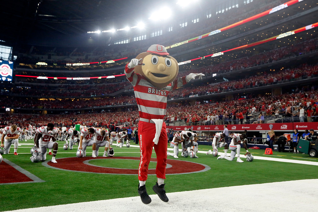 . Brutus, the Ohio State mascot, motivates the crowd prior to Ohio State playing TCU during an NCAA college football game in Arlington, Texas, Saturday, Sept. 15, 2018. (AP Photo/Michael Ainsworth)