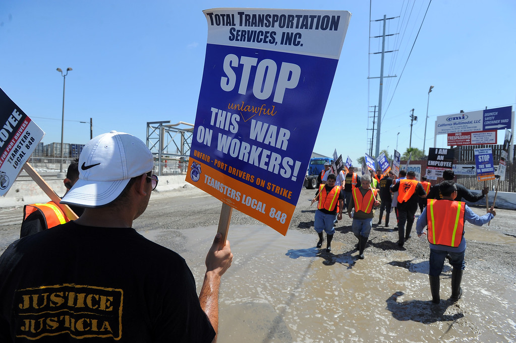 . Teamsters picket at TTSI in Wilmington, CA on Monday, April 28, 2014. Teamsters are planning a 48-hour strike at the ports of Long Beach and Los Angeles in support of truckers. (Photo by Scott Varley, Daily Breeze)