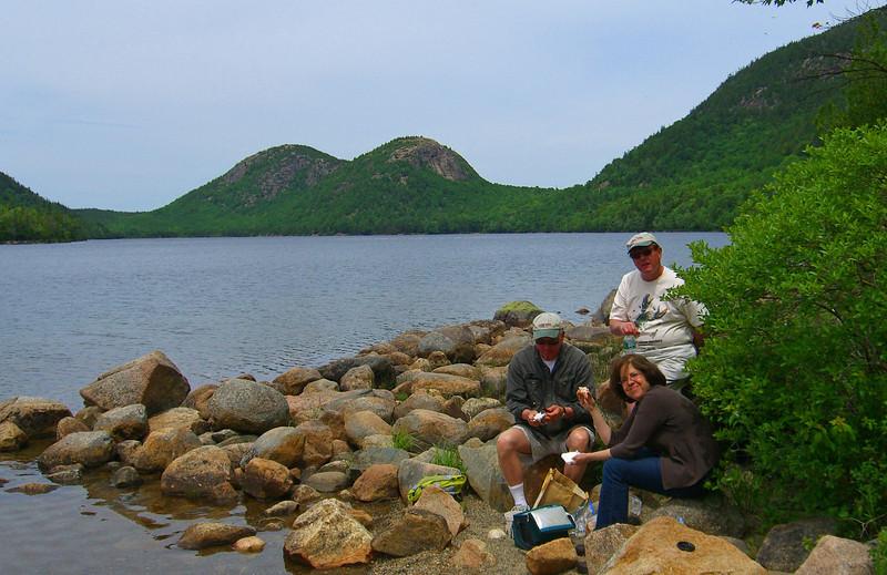 Enjoying a delicious lobster roll lunch on the shores of  Jordan Pond, Acadia National Park  http://www.acadiamagic.com/jordan-pond.html