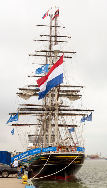 Another look at the Stad Amsterdam stern, this time with flags flying.