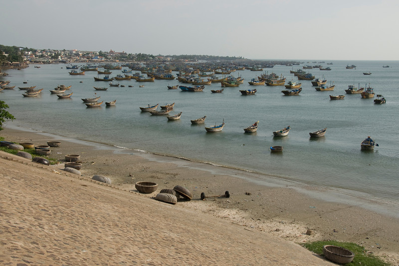 View of the boats from the shore - Mui Ne, Vietnam