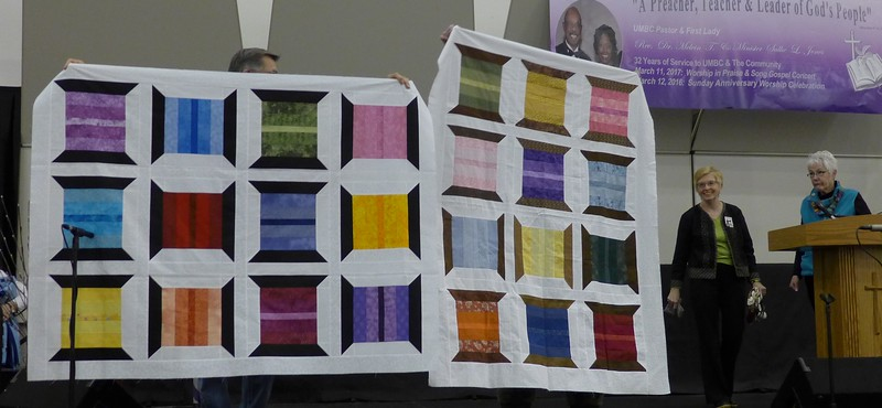 De Chamberlain and Marsha Rosenberger thought they woujld get rid of some 2 1/2 inchj strips from stash, but the stash seems to be the same size as before.  The quilt tops afre for Bobbi Sider for the chemo quilts.