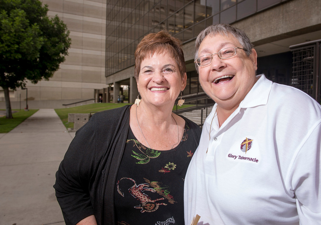 . Judy and Darletta Horn of Long Beach, receive their marriage license at the Los Angeles County Registrar-Recorder/County Clerk office in Norwalk, Ca. July 1, 2013.   (SGVN staff photo by Leo Jarzomb)