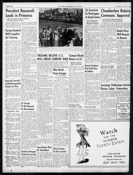 Daily Trojan, Vol. 31, No. 140, May 08, 1940