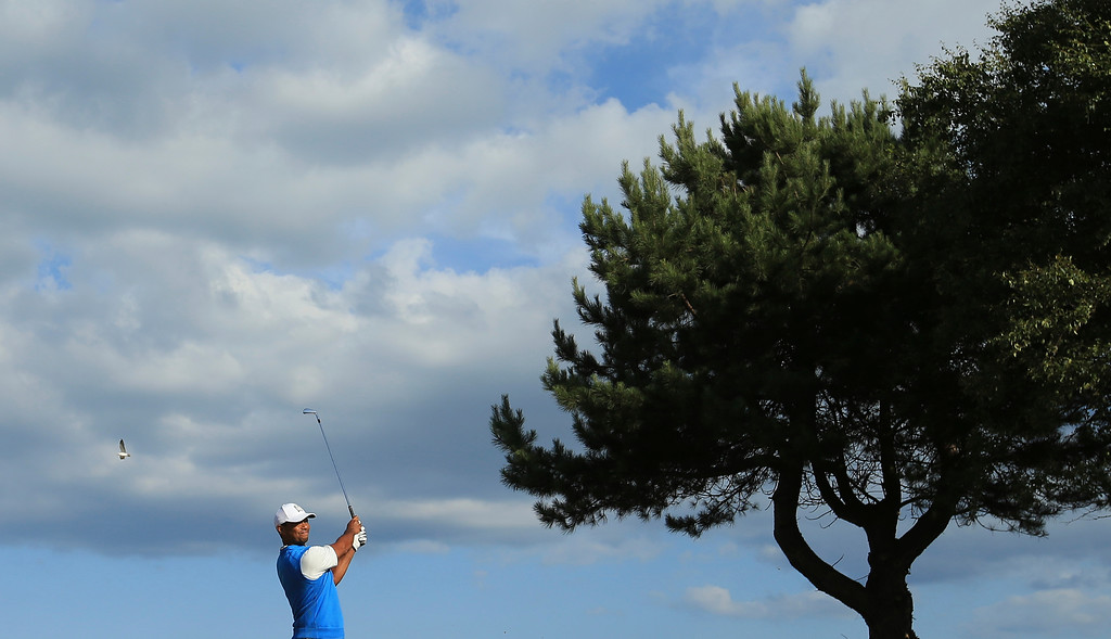 . Tiger Woods of the US plays off the 11th tee during the first round of the British Open Golf Championship in Carnoustie, Scotland, Thursday July 19, 2018. (AP Photo/Jon Super)