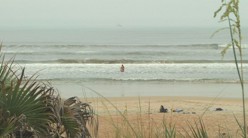 This young couple was enjoying the solitude of a lonely part of the beach near Ormond Beach, FL