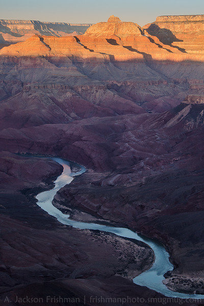 Sunrise on Vishnu Temple and the Colorado River from Comanche Point, Grand Canyon, Arizona, February 2013.