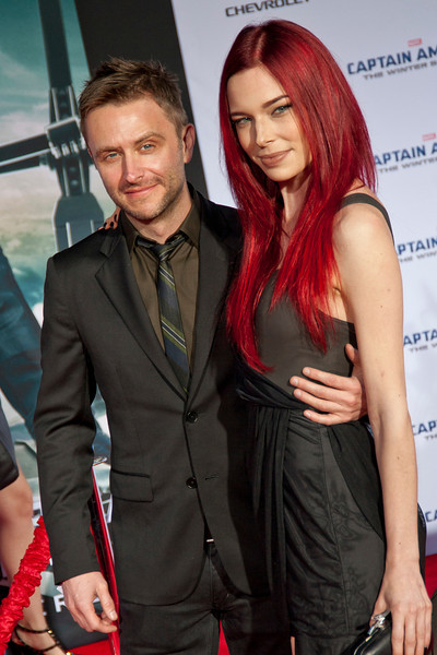 HOLLYWOOD, CA - MARCH 13: Actors Chris Hardwick (L) and Chloe Dykstra arrive at Marvel's 'Captain America: The Winter Soldier' premiere at the El Capitan Theatre onThursday,  March 13, 2014 in Hollywood, California. (Photo by Tom Sorensen/Moovieboy Pictures)