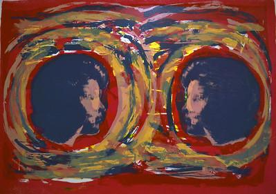 """Duo"" (screen print - monotype) by Margaret Buchen"