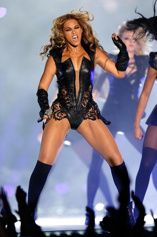 . Singer Beyonce performs during the Pepsi Super Bowl XLVII Halftime Show at the Mercedes-Benz Superdome on February 3, 2013 in New Orleans, Louisiana.  (Photo by Ezra Shaw/Getty Images)