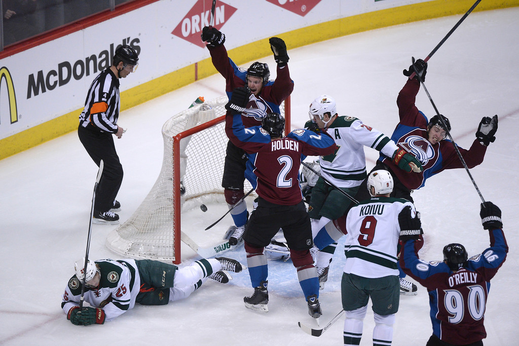 . The Avalanche react to a goal by Nick Holden (2) during the first period as the Colorado Avalanche hosted the Minnesota Wild in game 7 of their Stanley Cup Playoff series at the Pepsi Center in Denver, Colorado on Wednesday, April 30, 2014. (Photo by Karl Gehring/The Denver Post)