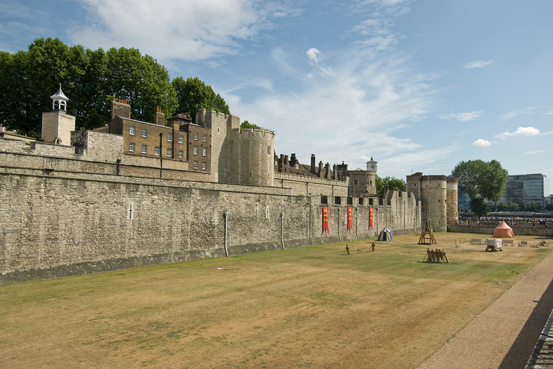 The ground outside walled fortress of Tower of London - England