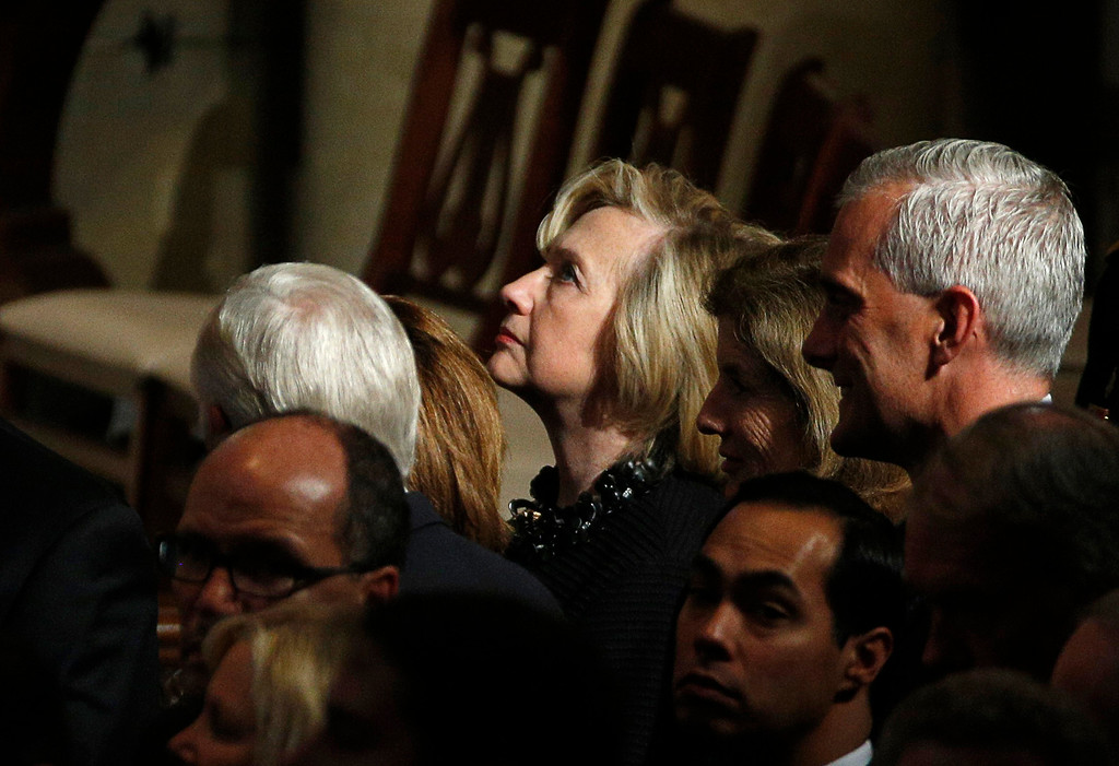 . Democratic presidential candidate, former Secretary of State  Hillary Rodham Clinton and White House Chief of Staff Denis McDonough attend funeral for Vice President Joe Biden\'s son, former Delaware Attorney General Beau Biden, Saturday, June 6, 2015, at St. Anthony of Padua church in Wilmington, Del. (Kevin Lamarque/Pool Photo via AP)