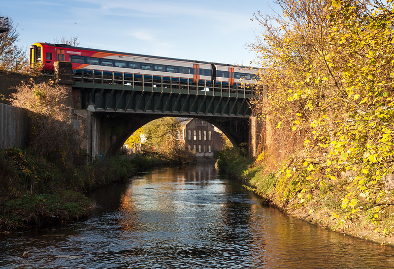 South West Trains crossing the River Wandle
