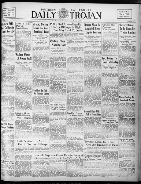 Daily Trojan, Vol. 25, No. 90, March 06, 1934