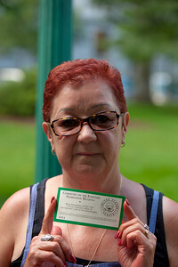 """Norma McCorvey (""""Jane Roe"""" of Roe vs Wade) holding a public admissions pass to the hearings - McCorvey is now a pro-life activist"""