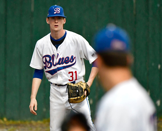 7/11/2019 Mike Orazzi   Staff The Bristol Blues' Spencer Fox (31) at Muzzy Field Thursday evening.