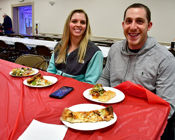 3/14/2019 Mike Orazzi | Staff Tori Companik and Gary Berman while enjoying some pizza during the Plainville Chamber of Commerce 2019 Pizza Feud at the Veterans of Foreign Wars in Plainville Thursday evening.