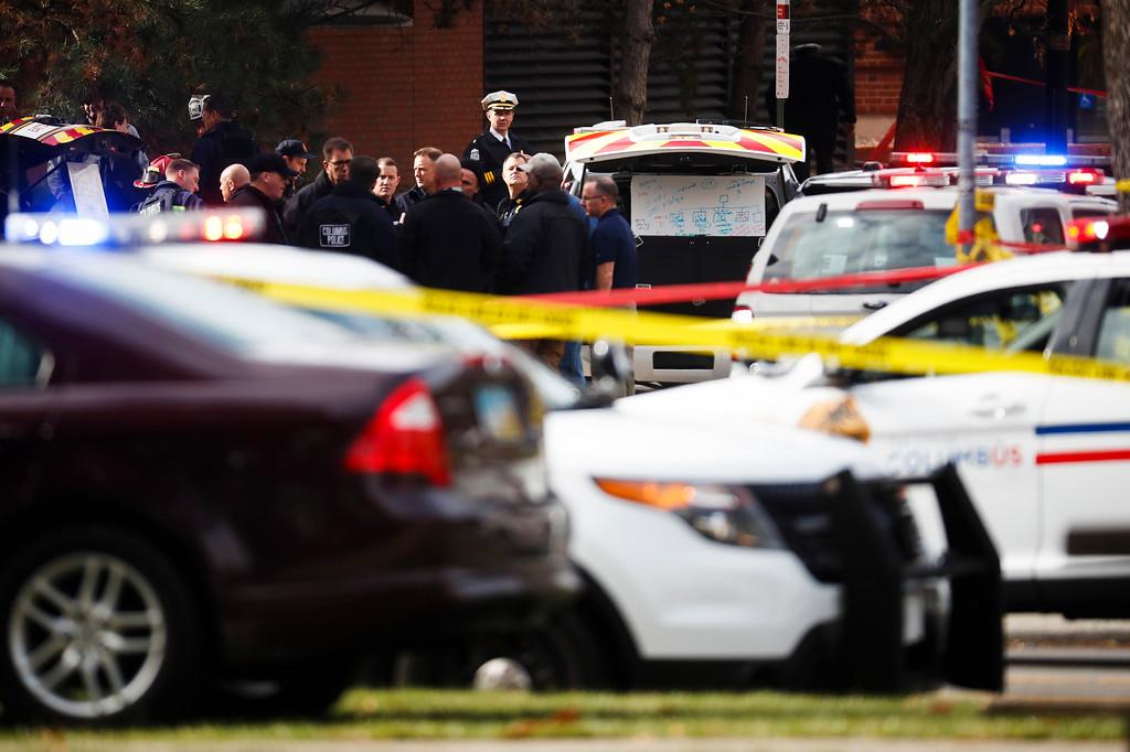 . Police respond to reports of a shooting on campus at Ohio State University, Monday, Nov. 28, 2016, in Columbus, Ohio. (AP Photo/John Minchillo)