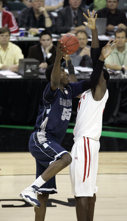 . Georgetowns\' Roy Hibbert takes shot at the basket in a  Final Four semifinal basketball game against Ohio State at the Georgia Dome in Atlanta, Saturday, March 31, 2007. (AP Photo/Charlie Neibergall)