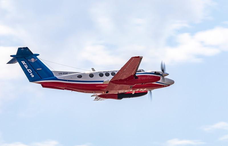 Royal Flying Doctor Service Beechcraft B200 Super King Air VH-FDZ Departing Rockhampton Airport