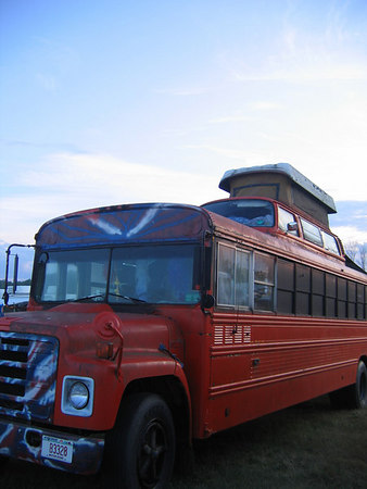 Oh of course...a VW bus welded to the top of an old school bus, with a sleeping attic welded to the top of the VW.
