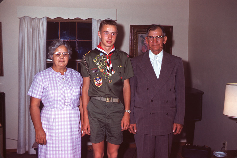 1962 - July 24. Grandma, John, & Grandpa Larson. Slide 62-888.
