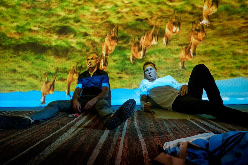 . Simon, portrayed by Jonny Lee Miller, left, and Mark, played by Ewan McGregor, are back together � and in bad shape � in �T2 Trainspotting.� The movie is in theaters March 31. (TriStar Pictures)